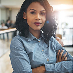 confident business woman in office