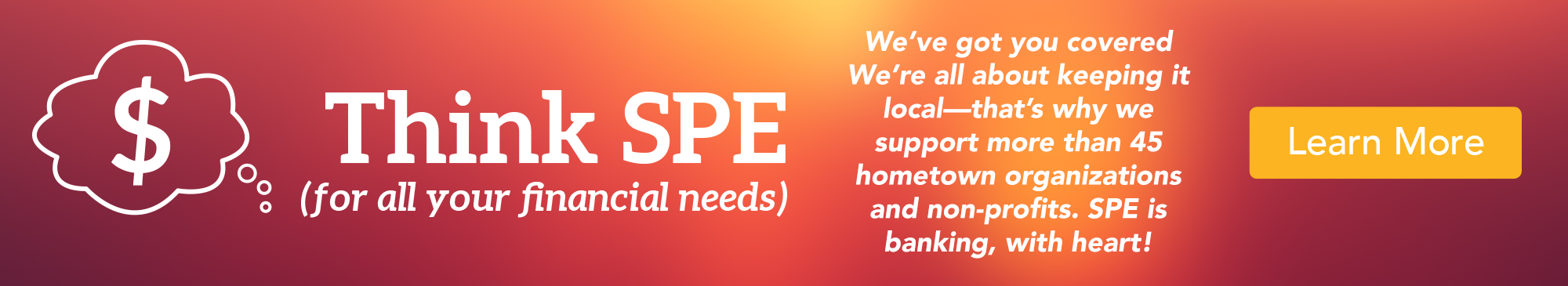 Gradient background image, Think SPE for financial needs, support local