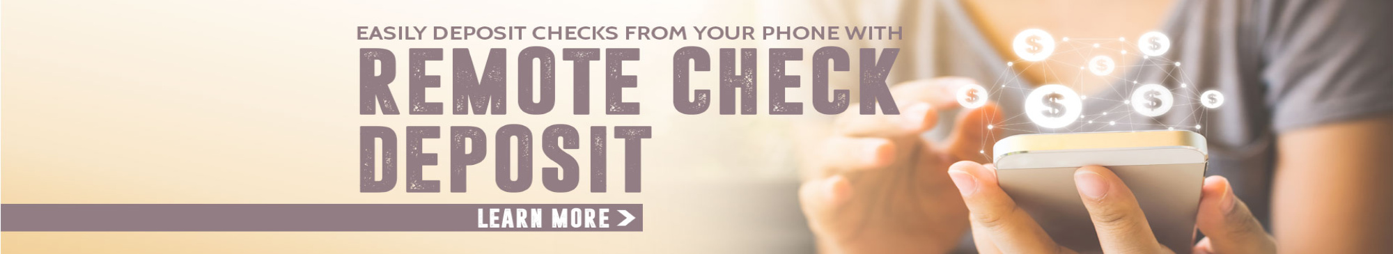 Woman holding cell phone, Remote check deposit