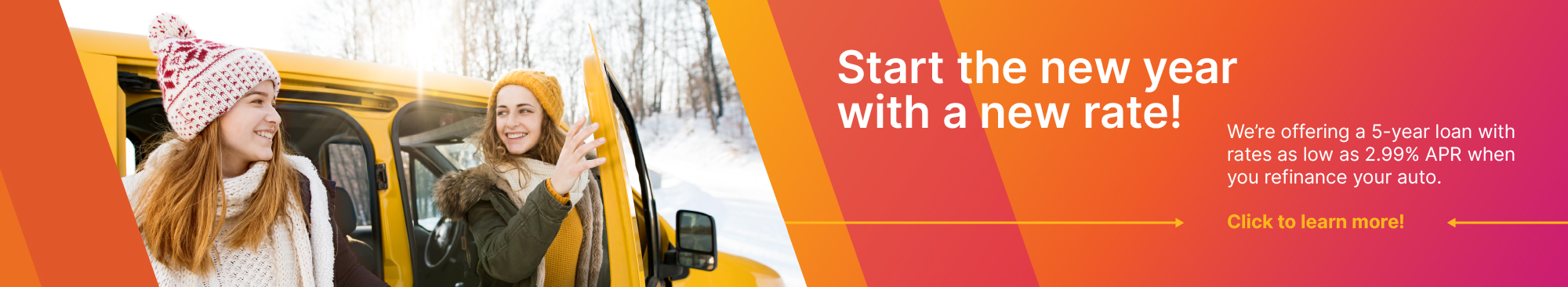 Two girls exiting yellow car, snow, winter, new auto rate, refinance