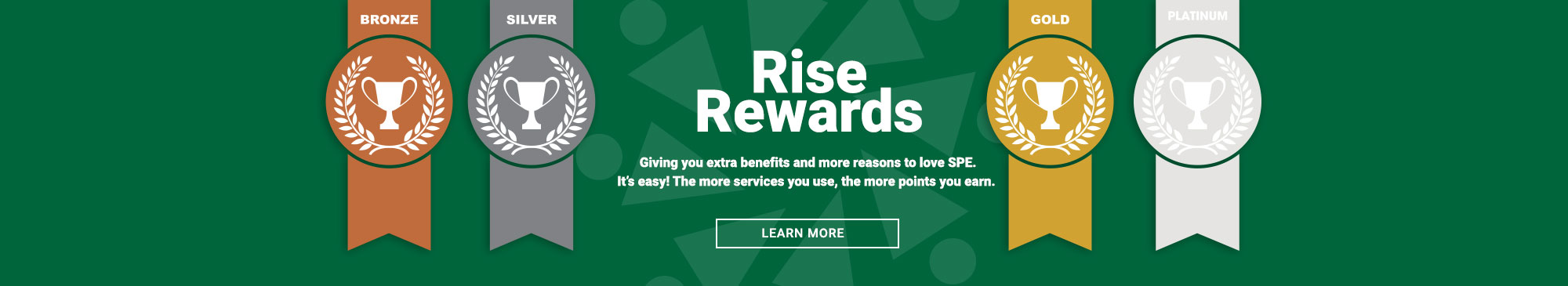rise rewards, reward accounts, bronze, silver, gold, platinum medals