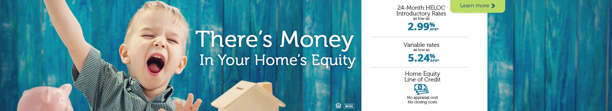home equity loan, young boy celebrating with piggy bank and toy house